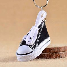 Mini Hi Top Canvas Sneaker Tennis Shoe Keychain Blue Pink Black White Sports Shoes Keyring Doll Funny  Gifts #Affiliate