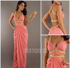 vestidos de noche color coral con manga - Buscar con Google