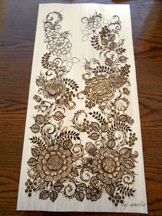 Henna on wood by Amelia D. // this is just jaw droppingly gorgeous....