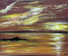 Items similar to Ocean Sunset Original, Acrylic Painting on x stretched canvas; seascape painting on Etsy Seascape Paintings, Easy Paintings, Landscape Paintings, Moon Painting, Ocean Sunset, Office Art, Abstract Oil, Pictures To Paint, Large Art