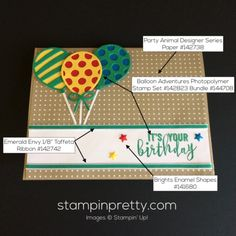 Balloon Adventures & Balloon Pop-Up Thinlits Dies birthday card.  Mary Fish, Stampin' Up! Demonstrator.  1000+ StampinUp & SUO card ideas.  Read more https://stampinpretty.com/2017/03/a-birthday-card-for-the-party-animal.html