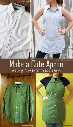 Turn a men's dress shirt into a cute apron with easy DIY instructions.  No expert sewing skills needed!