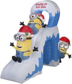 Minion Naughty Or Nice Slide Christmas Outdoor Inflatable