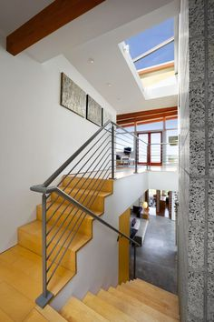 Architecture, Exquisite Stair Made From Bricked And Woods Also Completed With Chrome Iron Stair Holder: Beach House with Traditional Wooden Decor and Stylized with Modern Furniture