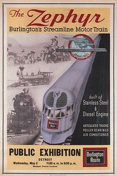 Burlington Railroad The Zephyr 1934 Vintage Poster Train Art Print Train Posters, Railway Posters, Travel Ads, Train Travel, Travel Stuff, Train Drawing, Train Service, Train Art, Train Pictures