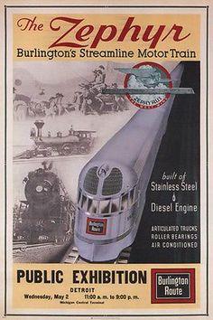 Burlington Railroad The Zephyr 1934 Vintage Poster Train Art Print Train Posters, Railway Posters, Travel Ads, Train Travel, Travel Stuff, Train Drawing, Train Art, Train Pictures, Model Train Layouts