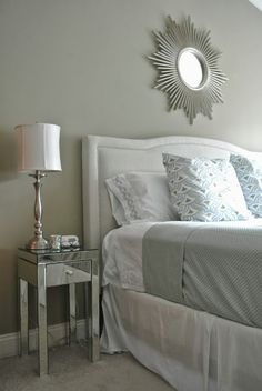Olive Lane: My Fall Bedroom Update Serena & Lily Nico Duvet, Target Threshold Blanket and Sheets, Grey, Pale Blue, Upholstered headboard