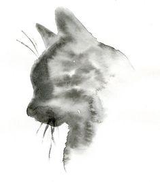 Black Cat Painting  Custom 5x7 Silhouette by WhiskeredPaintings, $30.00