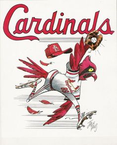 Vintage MLB Baseball ST. LOUIS CARDINALS Caricature Print by Jack Davis