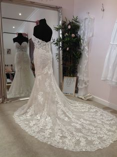 Enzoani Blue strapless fitted wedding dress with long lace train and sweetheart neckline Blue Wedding Dresses, Designer Wedding Dresses, Flower Girl Dresses, Prom Dresses, Enzoani Blue, Prom Dress Shopping, Neckline, Bridesmaid, Train