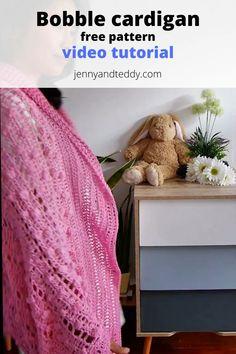 Easy Crochet Blanket, Crochet Cardigan, Crochet Shawl, Free Crochet, Bobble Stitch, Free Pattern, Crochet Patterns, Texture, Knitting
