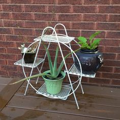Mid Century Plant Stand Wire Indoor or Outdoor by oldgoatandhorse
