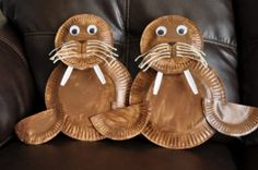 walrus paper plate craft | Art Design and Craft
