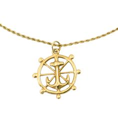 """14K Gold Anchor Necklace • Vintage Anchor Pendant on Rope Chain in 14K Gold • 19.75"""" Long by EncoreJewelryandGems on Etsy"""