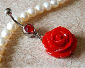 Rose Red Belly Ring Navel Ring Stainless Steel Body Jewelry