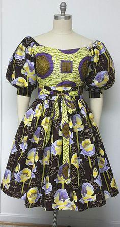African Print Fitted Off-Shoulder  Dress. Inside Pockets. Obi