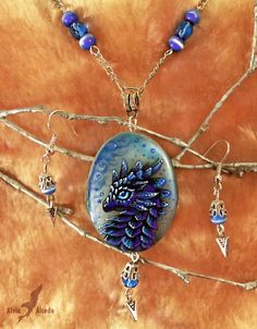 Water dragon - stone painting necklace set by =AlviaAlcedo on deviantART