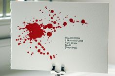 Throwing a kick butt Halloween bash this year? How about some rockin' Halloween party invites to go with that bash? I found so many awesome invites that this is going to be a two-parter, so stay tuned for the second. Bloody Halloween, Halloween Sanglant, Spirit Halloween, Holidays Halloween, Halloween Clothes, Halloween Garland, Halloween Table, Halloween Decorations, Halloween Costumes