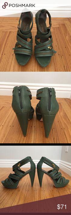 "Pour La Victoire platform sandal ""Petra"" platform leather sandal by Pour La Victoire. In dark green leather with gold zipper detailing. Platform toe bed decreases your arch & makes these sky-high heels feel comfortable! Worn once- excellent condition. Pour la Victoire Shoes Platforms"