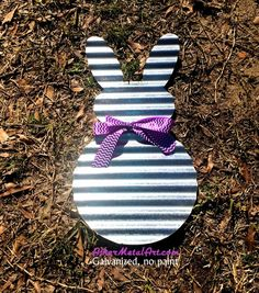 """Use code PINTREST10 for 10% off total order. Galvanized, corrugated metal (tin) Bunny Rabbit 21""""Tall / EASTER / SPRING, door hanger, wall hanging, wreath ashermetalart.com"""
