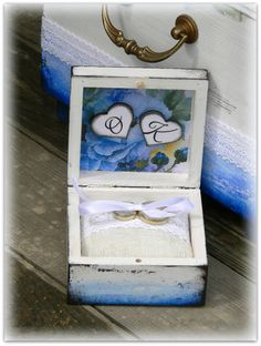 wedding ring box, hand made, decoupage
