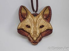 WOOD Fox Face Pendant sacred geometry spirit animal totem boho