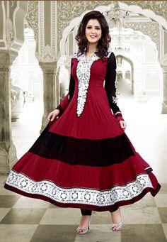 Maroon Faux Georgette Anarkali Churidar Kameez Online Shopping: KJL17