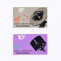 Opening of Satellite Earth Station (8c/10c). New Zealand, 1971. Design: M Cleverley. #mnh #graphilately