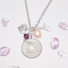 Mother dictionary necklace, birthstone jewelry, birthstone jewellery, mother definition necklace, wire wrapped jewellery, jewelry