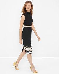 Mock Neck Stripe-Detail Sheath Dress -  Like this dress very much. Easy to wear.