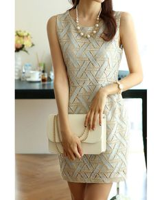 Lace Splicing Scoop Neck Sleeveless Casual Style Polyester Women's DressDresses | RoseGal.com