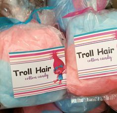 Troll hair cotton candy favor bags by the Fluff Factory