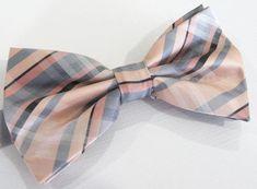 2f4b8c4e9b86 Mens Bowtie. Peach Silver Gray Plaid Bowtie With Matching Pocket Square  Option