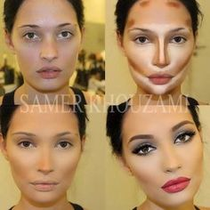 Face Make-up Contouring Before & Afters The Work of Samer A. Khouzam - Make-Up Artist Makeup Contouring, Makeup Tricks, Contouring And Highlighting, Skin Makeup, Makeup Tutorials, Contouring Tutorial, Contouring Guide, Beginner Contouring, Contouring Oval Face
