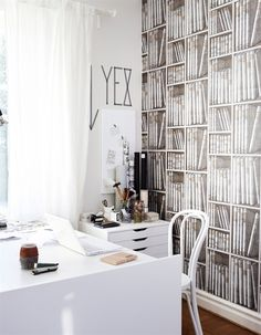I love the idea of library wallpaper for an office or study.