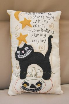 Handmade Primitive Fall Halloween Black Cat by ScrapbookingCottage