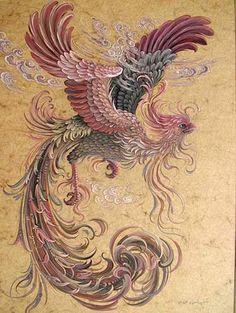 Reza Badrossama  نقاشی رضا بدرالسما سیمرغ ققنوس phoenix foenix آبرنگ و گواش Water Color& Gouach