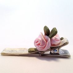 Cream Hair Clip with Textured Satin Ribbon and Roses by OmaDesigns