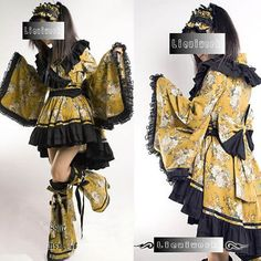 Yellow Floral Japanese Gothic Lolita Cosplay Kimono Dress Costumes SKU-2010193