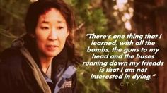 """...one thing I have learned is that I am not interested in dying.""  LOL....Yang and the group have been through so much!"