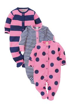 Newborn Sleepwear - Baby Sleepwear and Infantwear - Next Sleepsuits Three Pack - EziBuy Australia