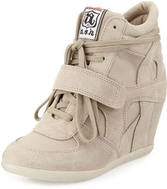 Beige Suede Wedge Sneakers by Ash. Buy for $104 from Last Call by Neiman Marcus
