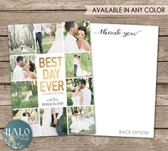 Wedding Thank You Card - printable card, postcard Photo Thank You Cards, Wedding Thank You Cards, Engagement Invitations, Anniversary Parties, Best Day Ever, Custom Cards, Printable Cards, Envelope Liners, White Envelopes