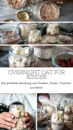 The perfect mix for an overnight oat for children: oat curls, chocolate powder, bananas and milk. Fast and nutritious. A full breakfast for a Healthy Meal Prep, Healthy Snacks, Healthy Recipes, Lassi Recipes, Smoothie Recipes, Baby Food Recipes, Snack Recipes, Chocolate Powder, Homemade Baby Foods