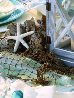 Mile High Beach ( #Tablescapes )!_I found this old bottle when I was looking for the mason jars!