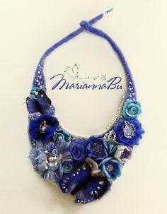"Felt necklace ""Aquamarine"" - pinned by pin4etsy.com"