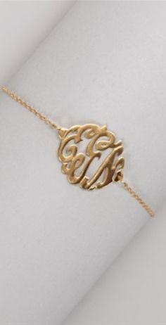 pretty #gold monogrammed 3 letter bracelet http://rstyle.me/n/kctdrr9te