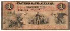 Obsolete bank note, 1860, Eastern Bank of Alabama, Euphala, Alabama