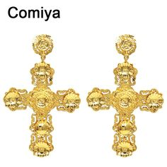 Comiya fashion Big gold filled india cross earrings for women 2016 pendientes largos statement earring cc brincos indian jewelry