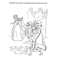 Frozen Elsa Accidentally By Freezing Curse On Anna Coloring Pages Elsa Coloring Pages Frozen Coloring Pages Coloring Pages